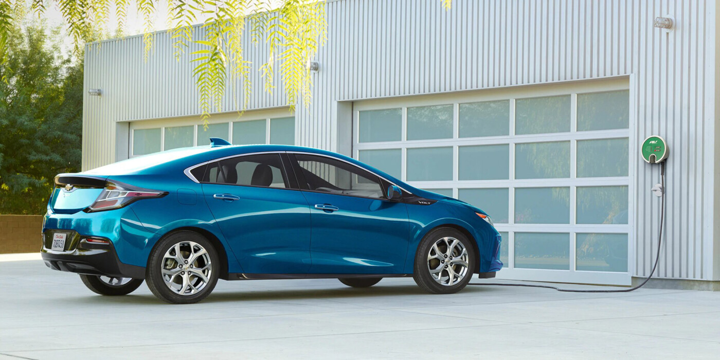 blue chevy volt charging
